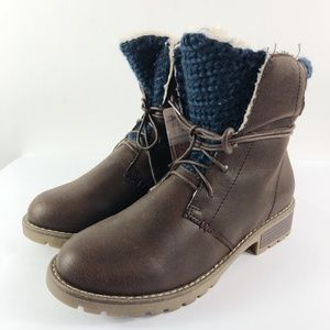 [MUK LUKS] Lace Up Boots Knit Faux Leather NEW